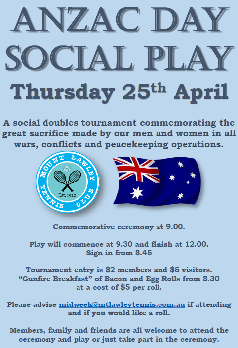 ANZAC Day 2019 Tournament Poster
