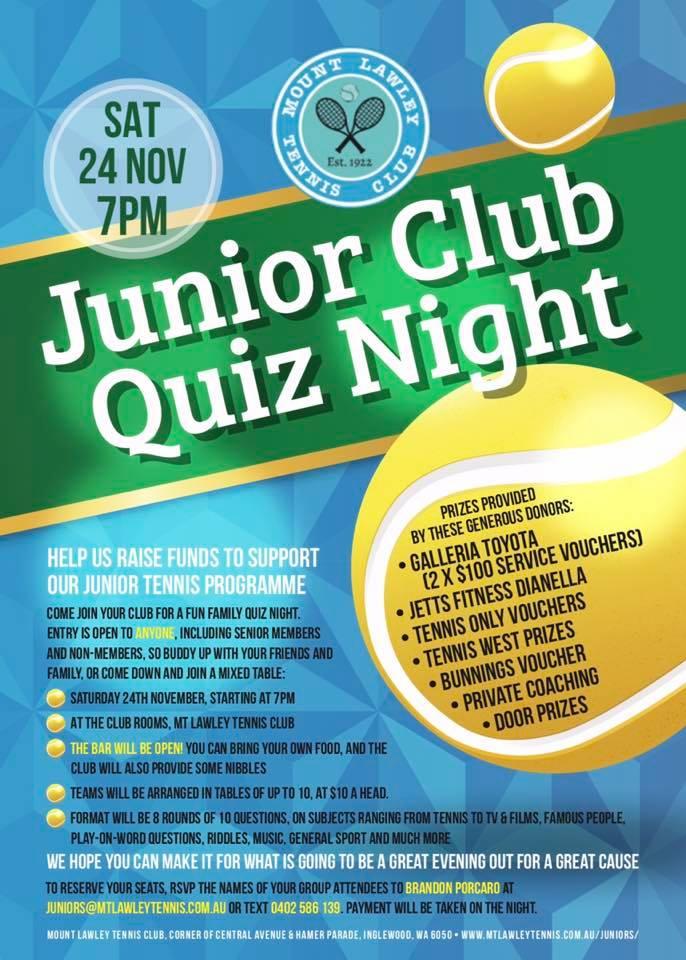 Mt Lawley Tennis Club Junior Club Quiz Night 2018